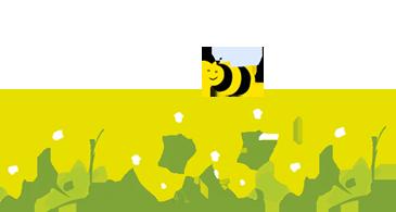 Biene über Blumenwiese