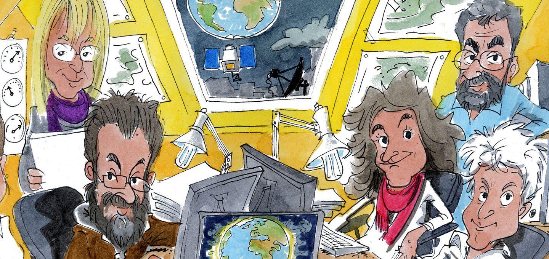 Karikatur zeigt die Geoscopia-Naturwissenschaftler, die sich für Klimabildung in Schulen einsetzen.